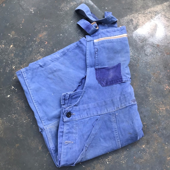 Faded Blue Workwear Dungarees Small