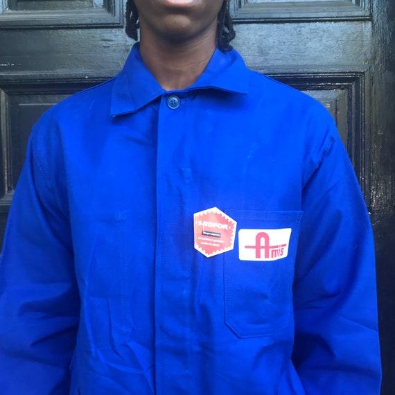 Large Blue French Workwear Jacket - image 6
