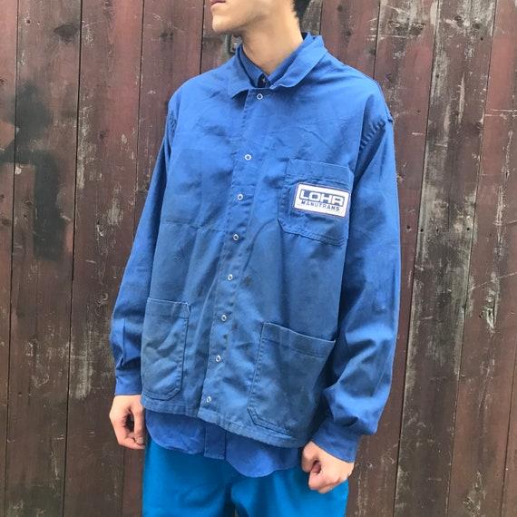XL French Blue Workwear Jacket. Stud Buttons Worn