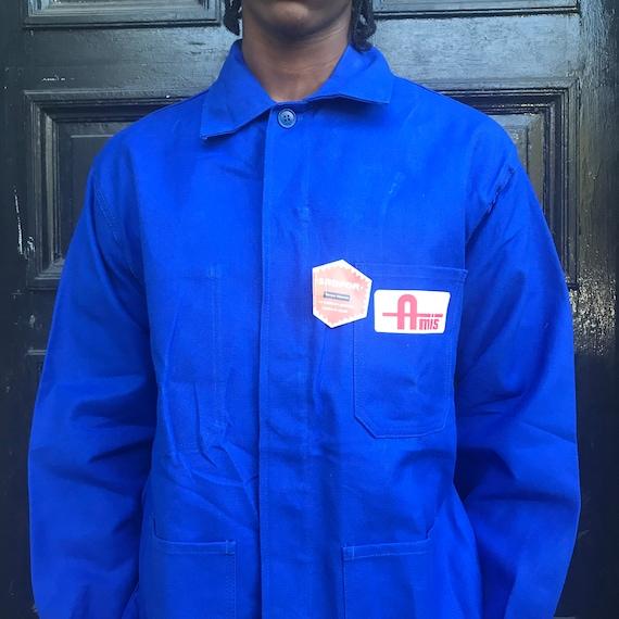 Large Blue French Workwear Jacket - image 4