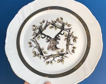 Porcelaine de Luxe ADP France Six Dinner Plates White and Golden Hunting Forest Animal Theme Tableware Deer Boar Dog Fox Hare Dinner Set & Deer dinner plates | Etsy