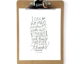 Thanksgiving Printable, Shakespeare quote, 8x10 printable