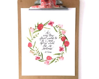 St. Therese Quote Hand-lettered and watercolor *Digital Item*