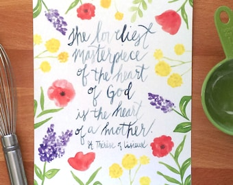 Mother's Day gift, St. Therese of Lisieux Quote Printable, Watercolor 8x10, Digital Item
