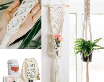 DIY Macrame Kit for Beginners! Makes 3 Projects - Wall hanging, Plant Hanger, and Keychain!