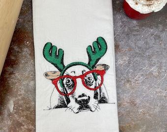 Basset Hound Christmas kitchen tea towel, Basset hound gift, Christmas Basset Hound, Dog kitchen towel, Dog Christmas, Basset Hound Gift