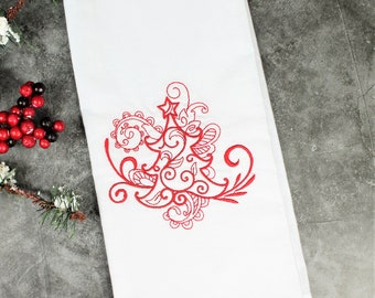 Personalized Embroidered Christmas Tree Kitchen Tea Towel, Christmas Tree Towel, Teacher Gifts, Co-worker Gifts