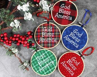 Embroidered God Bless America Christmas Tree ornament, Patriotic Ornament, Teacher Gift,  Secret Santa Gift, Veterans Gift