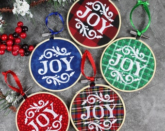 Embroidered Joy Hooped Christmas Tree ornament, Teacher Gift, Christmas Ornament, Secret Santa Gift,