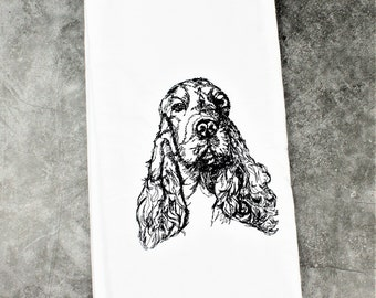 Personalized Embroidered English Cocker Spaniel Kitchen Tea Towel,  English Cocker Spaniel Gifts, Cocker Spaniel Mom Gifts, Dog Mom Gifts