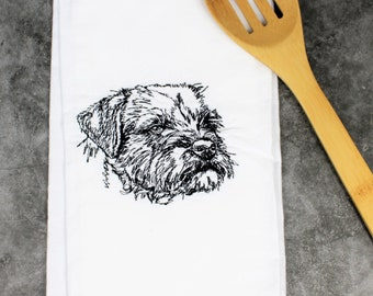 Personalized Embroidered Border Terrier Kitchen Tea Towel, Border Terrier Gift, Border Terrier Mom Gift, Dog mom gift, Dog Lover Gift
