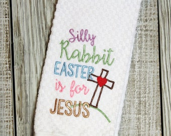 Embroidered Easter Christian Kitchen Tea Towel