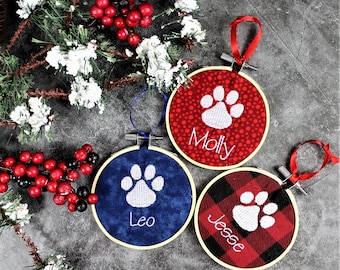 Personalized Cat Christmas Tree Ornament, Cat Lover Gift, Cat paw print Christmas Ornament, Buffalo Check Ornament, Cat mom gift