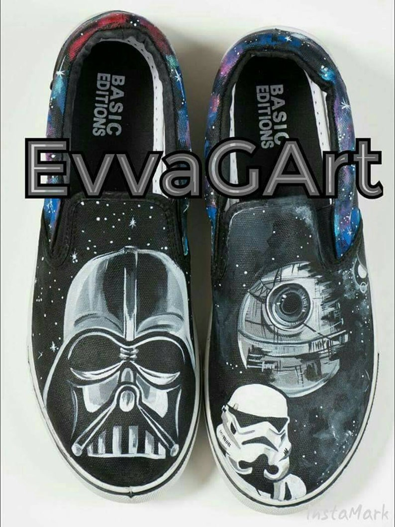 b6146f743c2b5 Custom hand painted Star Wars shoes. Hand painted shoes. Darth Vader. The  Death Star. Star Wars Vans