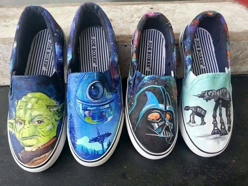 1454b7cceeff5 Custom hand painted Star Wars shoes. Darth Vader. Yoda. Painted vans.  Galaxy painted shoes.