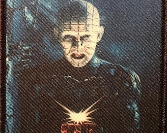 """Hellraiser Horror Movie Poster Patch 4.5"""" x 3"""" Pinhead Puzzlebox Lament Configuration Clive Barker Stitch Only"""