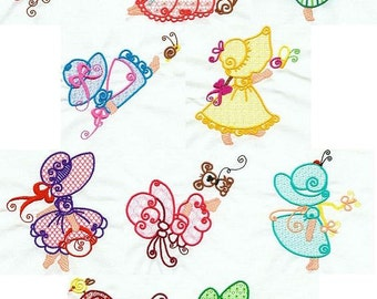 Curly Sunbonnets - INSTANT DOWNLOAD - Machine Embroidery - 4x4 hoop
