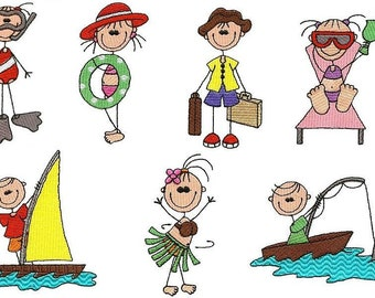 Vacation Stick People - INSTANT DOWNLOAD - 4x4 hoop - Machine Embroidery