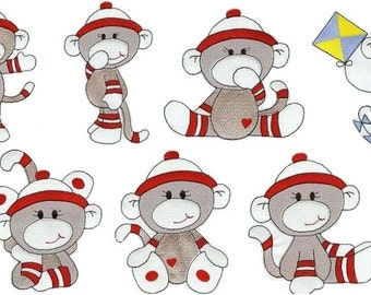 Sock Monkey Boys - INSTANT DOWNLOAD - Machine Embroidery - 4x4 hoop