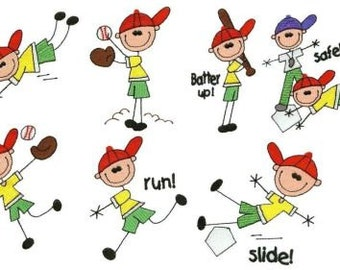 Baseball Stick People - INSTANT DOWNLOAD - 4x4 hoop - Machine Embroidery