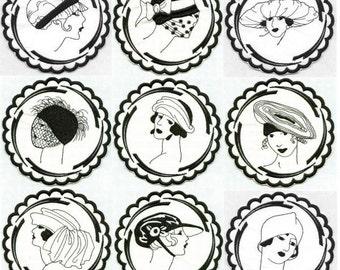 Deco Ladies Coasters Set 1 - INSTANT DOWNLOAD - 4x4 hoop - Machine Embroidery