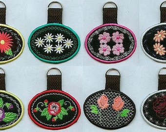 Floral Key Fobs - INSTANT DOWNLOAD - In The Hoop - Machine Embroidery - 4x4 hoop
