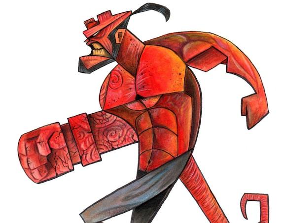 Hellboy / Caricature / Cartoon / Pop Surrealism / Lowbrow / Cubism / Pop Art  Illustration Print