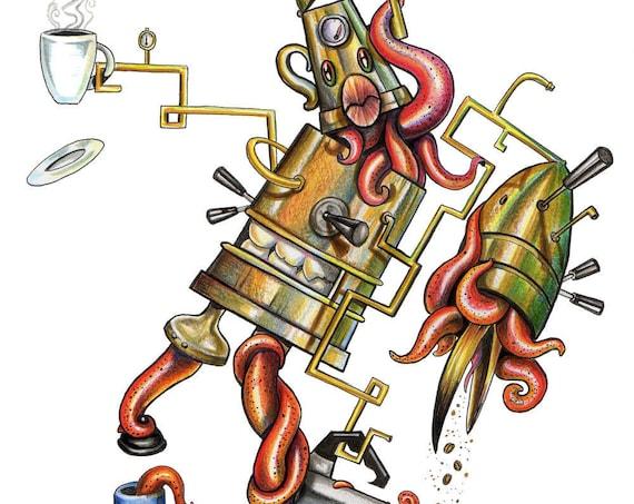 Coffee Maker / Cartoon / Pop Surrealism / Lowbrow / Cubism / Pop Art  Illustration Print