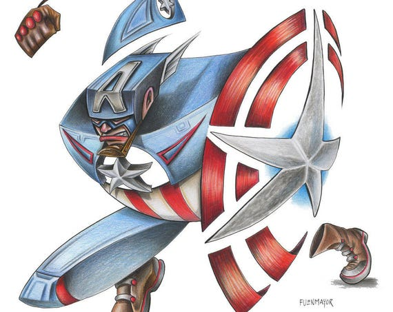 Captain America/ Marvel / Caricature / Cartoon / Comic / Pop Surrealism / Lowbrow / Cubism / Pop Art  Illustration Print