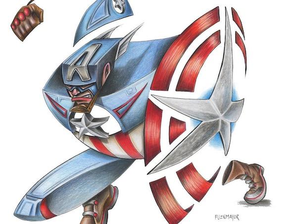 Captain America/ Marvel / Caricature / Cartoon / Comic / Pop Surrealism / Lowbrow / Cubism / Pop Art  Illustration Print