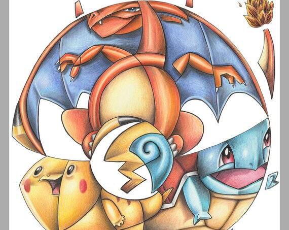 Pokemon / Pikachu / Charizard / Squirtle / Caricature / Cartoon / Comic / Pop Surrealism / Lowbrow / Cubism / Pop Art  Illustration Print
