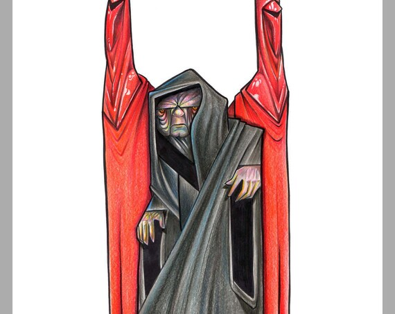 Senator Palpatine / Darth Sidious / Lord Sidious / Emperor / Star Wars / Pop Surrealism / Lowbrow / Cubism / Pop Art  Illustration Print