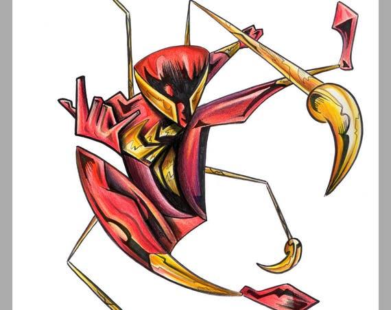 Iron Spiderman / Spiderman / Marvel / Caricature / Cartoon / Comic / Pop Surrealism / Lowbrow / Cubism / Pop Art  Illustration Print