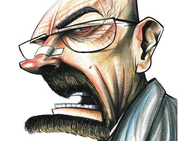 Breaking Bad / Heisenberg / Walter White  / Caricature / Cartoon / Pop Surrealism / Lowbrow / Cubism / Pop Art  Illustration Print