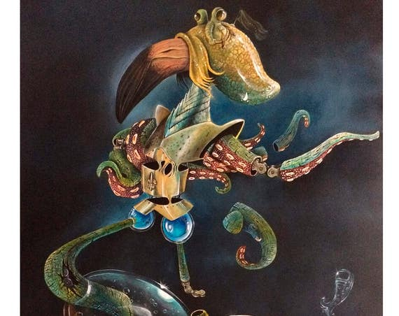 Knightopus Certified Copy from Painting/ Science Fiction / Pop Surrealism / Lowbrow / Cubism / Pop Art  Illustration Print