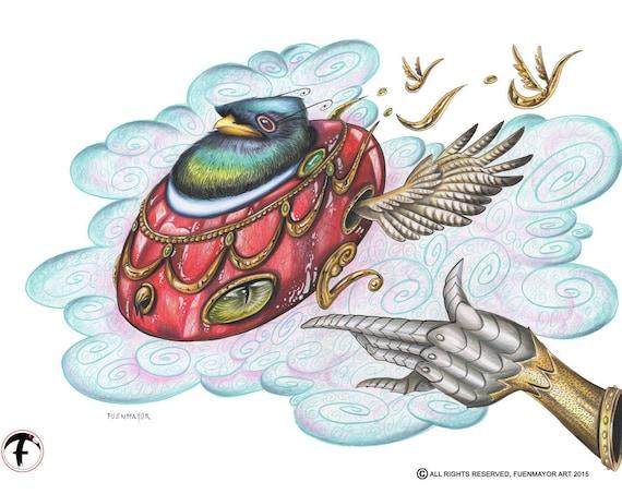 Freedom / Cartoon / Pop Surrealism / Lowbrow / Cubism / Pop Art  Illustration Print