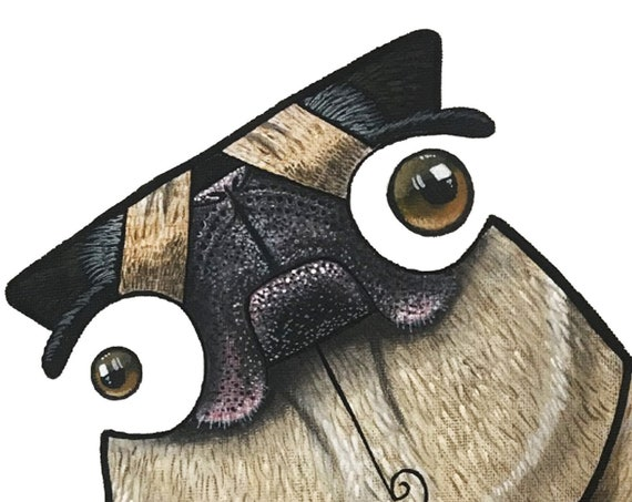Pug / Dog / Pop Surrealism / Lowbrow / Cubism / Pop Art  Illustration Print