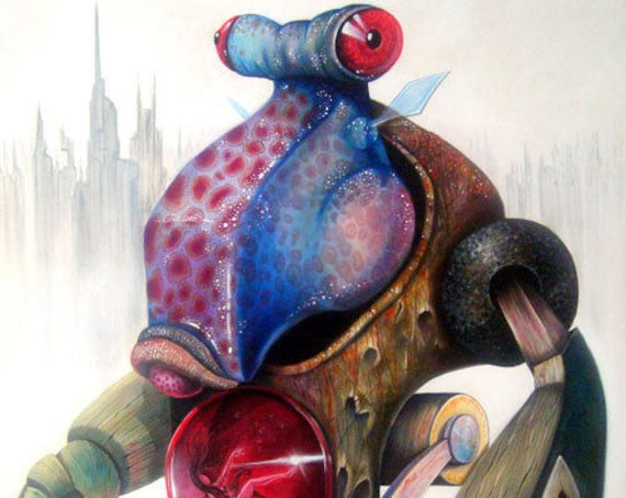 Fish-Bot Certified Copy from Painting/ Science Fiction / Pop Surrealism / Lowbrow / Cubism / Pop Art  Illustration Print