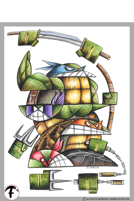 ninja turtles / water colors / / Pop Surrealism / Lowbrow / Cubism / Pop Art  Illustration Print