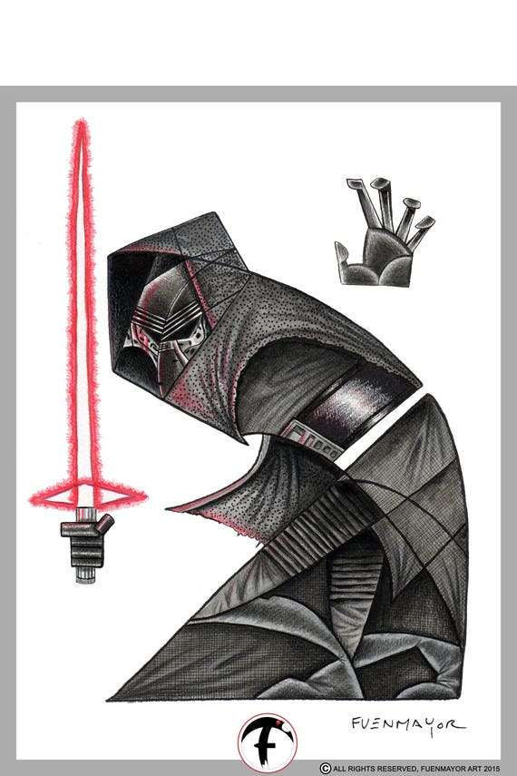 kylo Ren / sith / star wars / Pop Surrealism / Lowbrow / Cubism / Pop Art  Illustration Print