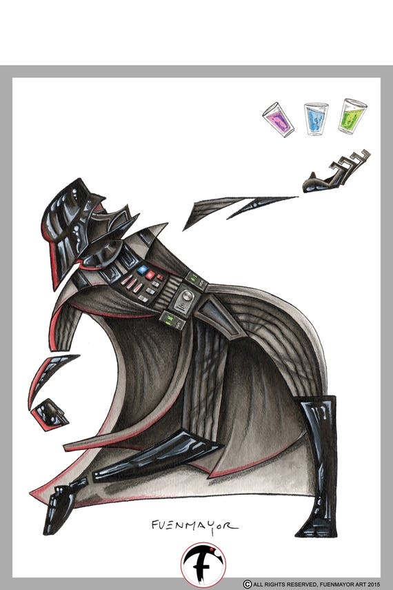 Darth Vader / shots / star wars / Pop Surrealism / Lowbrow / Cubism / Pop Art  Illustration Print