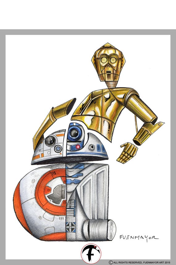 C3P0 / BB8 / R2D2 / Star Wars / Pop Surrealism / Lowbrow / Cubism / Pop Art  Illustration Print
