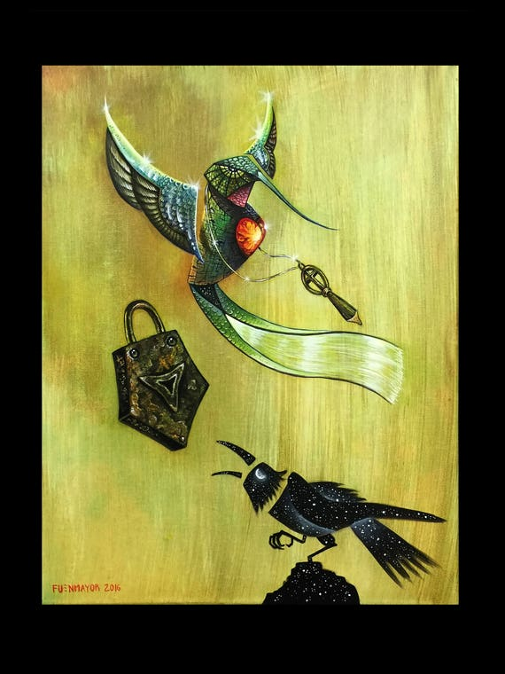 colibri / hummingbird / Pop Surrealism / Lowbrow / Cubism / Pop Art  Illustration Print