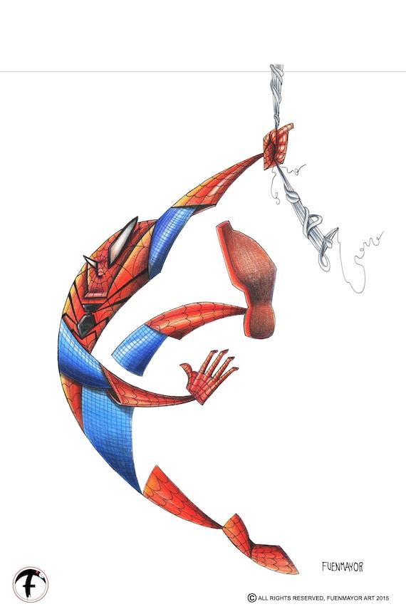 Spider / Spiderman / Marvel / Caricature / Cartoon / Comic / Pop Surrealism / Lowbrow / Cubism / Pop Art  Illustration Print