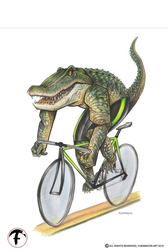 Alligator on a Bike / Gators / Crocodile /  Pop Surrealism / Lowbrow / Cubism / Pop Art  Illustration Print