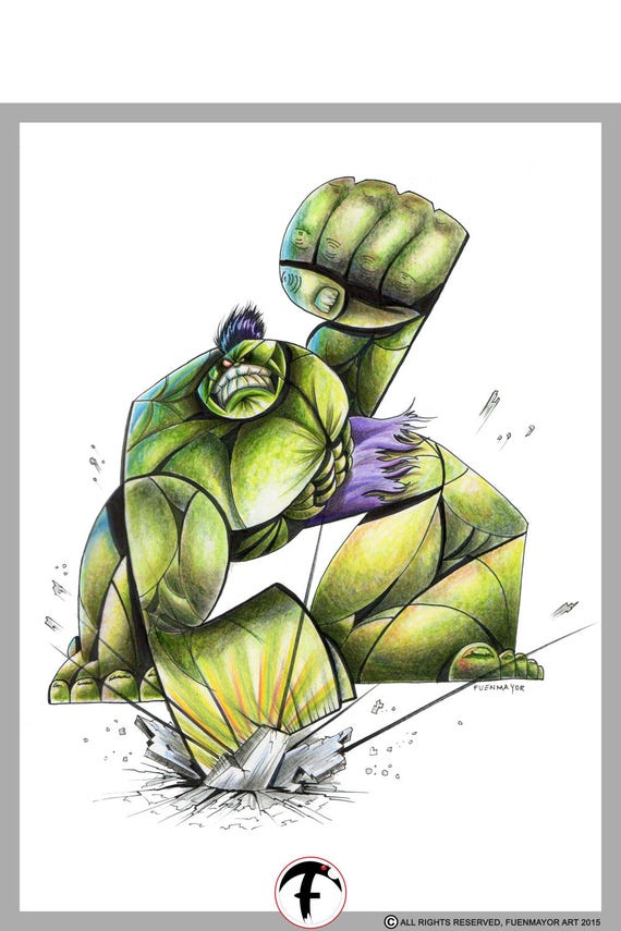 Hulk / Marvel / Caricature / Cartoon / Comic / Pop Surrealism / Lowbrow / Cubism / Pop Art  Illustration Print