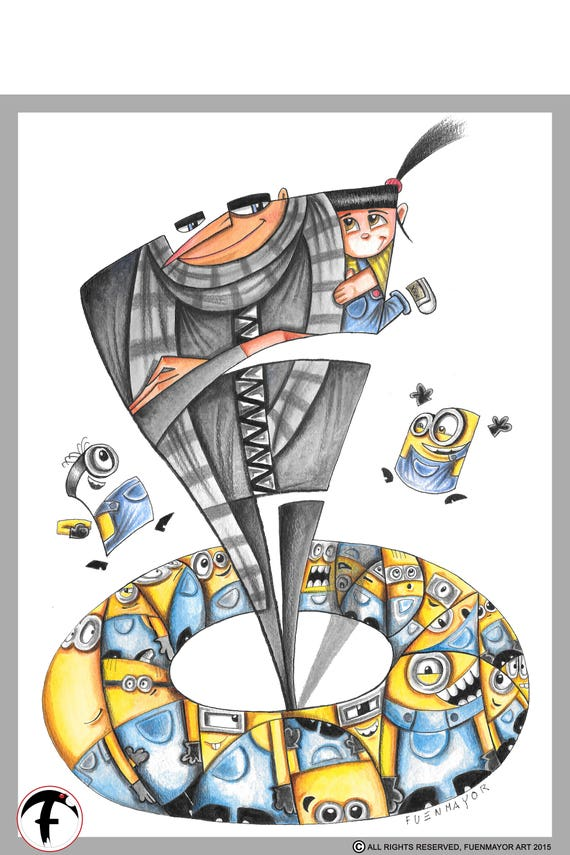 Despicable me / Minions / Cartoon / Caricature / Comic / Pop Surrealism / Lowbrow / Cubism / Pop Art  Illustration Print