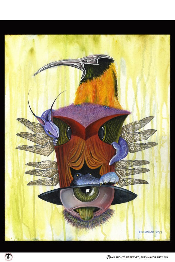 Totem / Pop Surrealism / Lowbrow / Cubism / Pop Art  Illustration Print