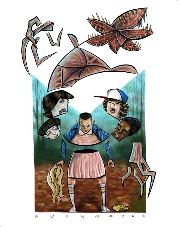 Stranger Things / Eleven / Demogorgon / Caricature / Cartoon / Pop Surrealism / Lowbrow / Cubism / Pop Art  Illustration Print