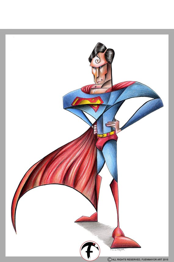 Superman / DC Comics / Caricature / Cartoon / Comic / Pop Surrealism / Lowbrow / Cubism / Pop Art  Illustration Print